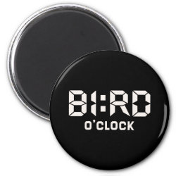 Round Magnet with Bird O'Clock design