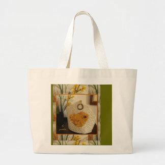 Bird of Amber Gold Tea Cozy Large Tote Bag