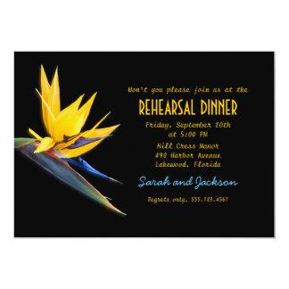 Bird of Paradise Black Beach Rehearsal Dinner 5x7 Paper Invitation Card