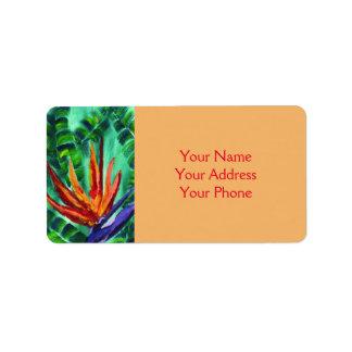 Bird of Paradise Crane Flower Acrylic Painting Label