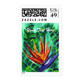 Bird of Paradise Crane Flower Acrylic Painting Postage Stamp