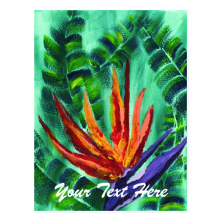 Bird of Paradise Crane Flower Acrylic Painting Postcard