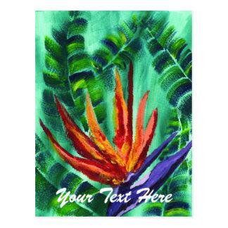 Bird of Paradise Crane Flower Acrylic Painting Postcard