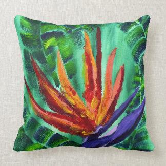 Bird of Paradise Crane Flower Acrylic Painting Throw Pillow