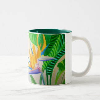 Bird of Paradise Design Two-Tone Coffee Mug