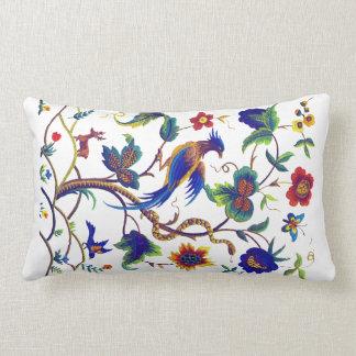 Bird of Paradise Faux Jacobean Embroidery Pillow