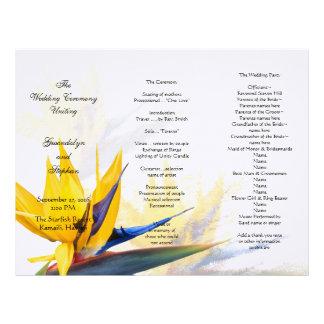 Bird of Paradise Floral Wedding Program Template Personalized Letterhead