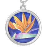 Bird of Paradise Flower Art Necklace Pendant