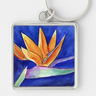 Bird of Paradise Flower Painting Art Keychain