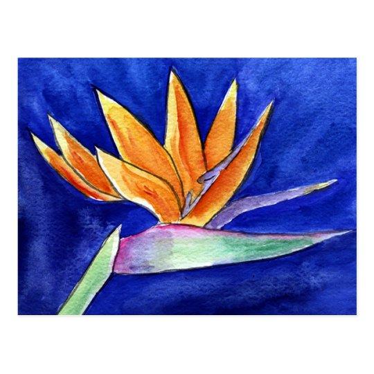 Bird-of-Paradise Flower Painting Art Postcard