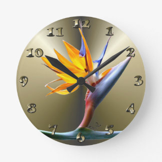 Bird of Paradise Flower Round Clock