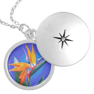 Bird of Paradise Flower Round Locket Necklace