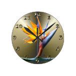Bird of Paradise Flower Round Wall Clocks