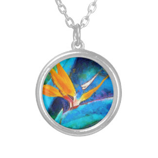 bird of paradise flower silver plated necklace