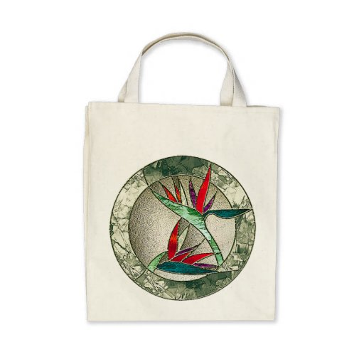 Bird of Paradise Flower Stained Glass Look Canvas Bag