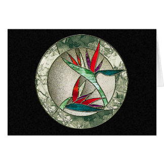 Bird of Paradise Flower Stained Glass Look Card