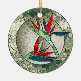 Bird of Paradise Flower Stained Glass Look Ceramic Ornament