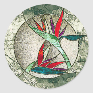 Bird of Paradise Flower Stained Glass Look Classic Round Sticker