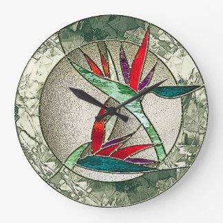 Bird of Paradise Flower Stained Glass Look Large Clock