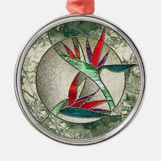 Bird of Paradise Flower Stained Glass Look Metal Ornament