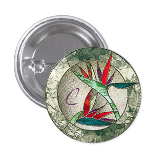 Bird of Paradise Flower Stained Glass Look Pinback Button