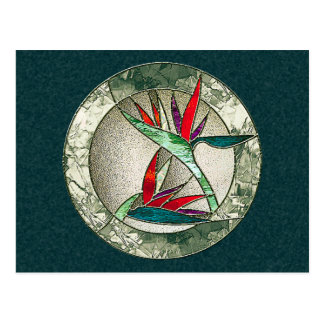 Bird of Paradise Flower Stained Glass Look Postcard