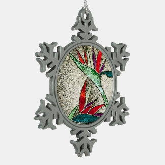 Bird of Paradise Flower Stained Glass Look Snowflake Pewter Christmas Ornament