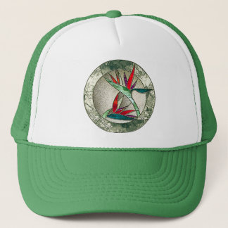 Bird of Paradise Flower Stained Glass Look Trucker Hat