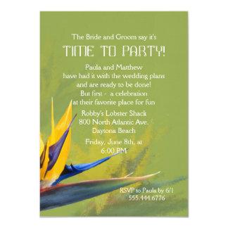Bird of Paradise Green Fun Saying Rehearsal Dinner 4.5x6.25 Paper Invitation Card