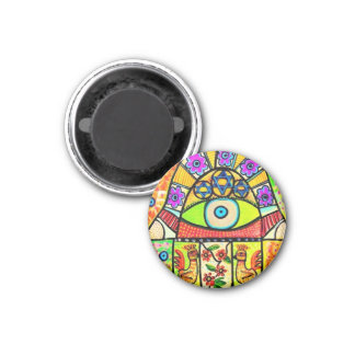 Bird Of Paradise Hamsa 1 Inch Round Magnet