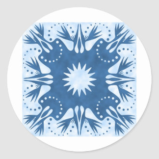 Bird of Paradise Hawaiian Quilt Block Classic Round Sticker