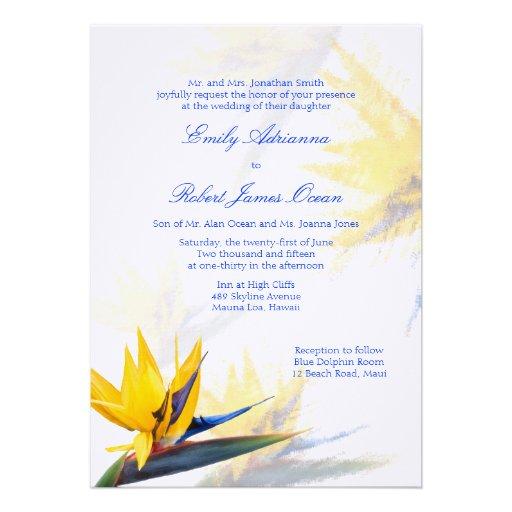 Bird of Paradise Hawaiian Wedding Invitation