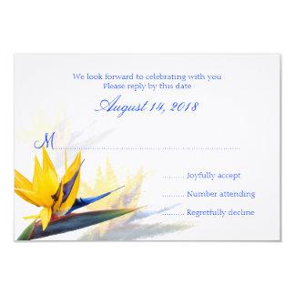 "Bird of Paradise Hawaiian Wedding Reply Cards 3.5"" X 5"" Invitation Card"