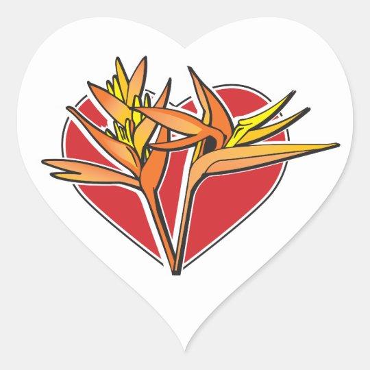 Bird of Paradise Heart Heart Sticker