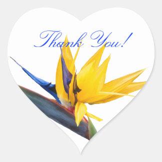 Bird of Paradise Heart Shaped Thank You Sticker