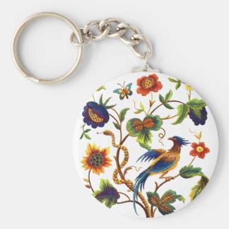 Bird of Paradise Jacobean Embroidery Basic Round Button Keychain