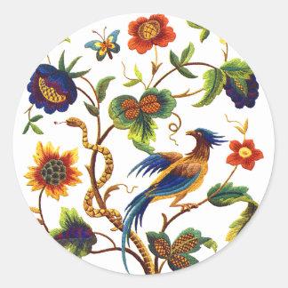 Bird of Paradise Jacobean Embroidery Classic Round Sticker