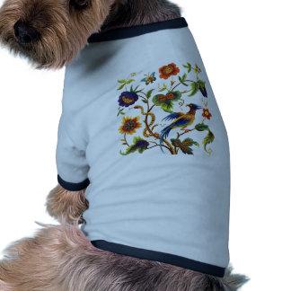 Bird of Paradise Jacobean Embroidery Dog T-shirt