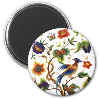 Bird of Paradise Jacobean Embroidery Magnet