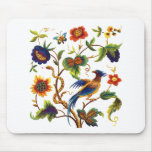 Bird of Paradise Jacobean Embroidery Mouse Pad