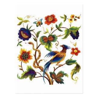 Bird of Paradise Jacobean Embroidery Postcard