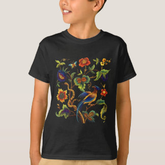 Bird of Paradise Jacobean Embroidery T-Shirt
