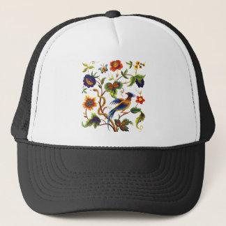 Bird of Paradise Jacobean Embroidery Trucker Hat