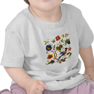 Bird of Paradise Jacobean Embroidery Tshirts