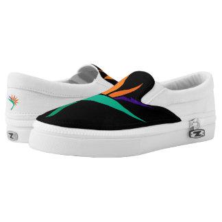 Bird of Paradise on Black Slip-On Sneakers