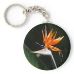 Bird of Paradise Orange Tropical Flower Keychain