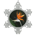Bird of Paradise Orange Tropical Flower Snowflake Pewter Christmas Ornament