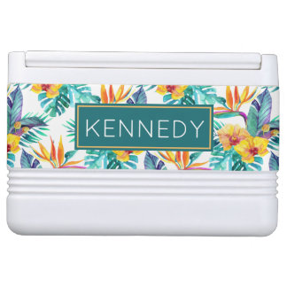 Bird Of Paradise & Orchid Pattern | Add Your Name Drink Cooler