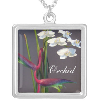 Bird-of-Paradise Orchids Square Pendant Necklace