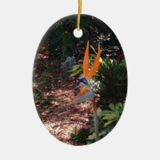 Bird of Paradise Double-Sided Oval Ceramic Christmas Ornament